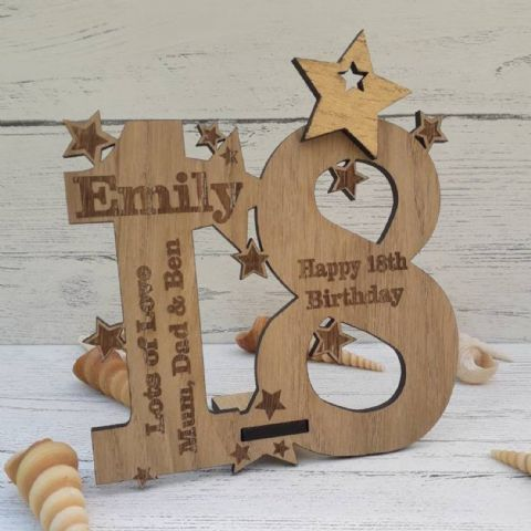 Personalised Eighteenth 18th Birthday Celebration Card Oak Wooden Keepsake Gift